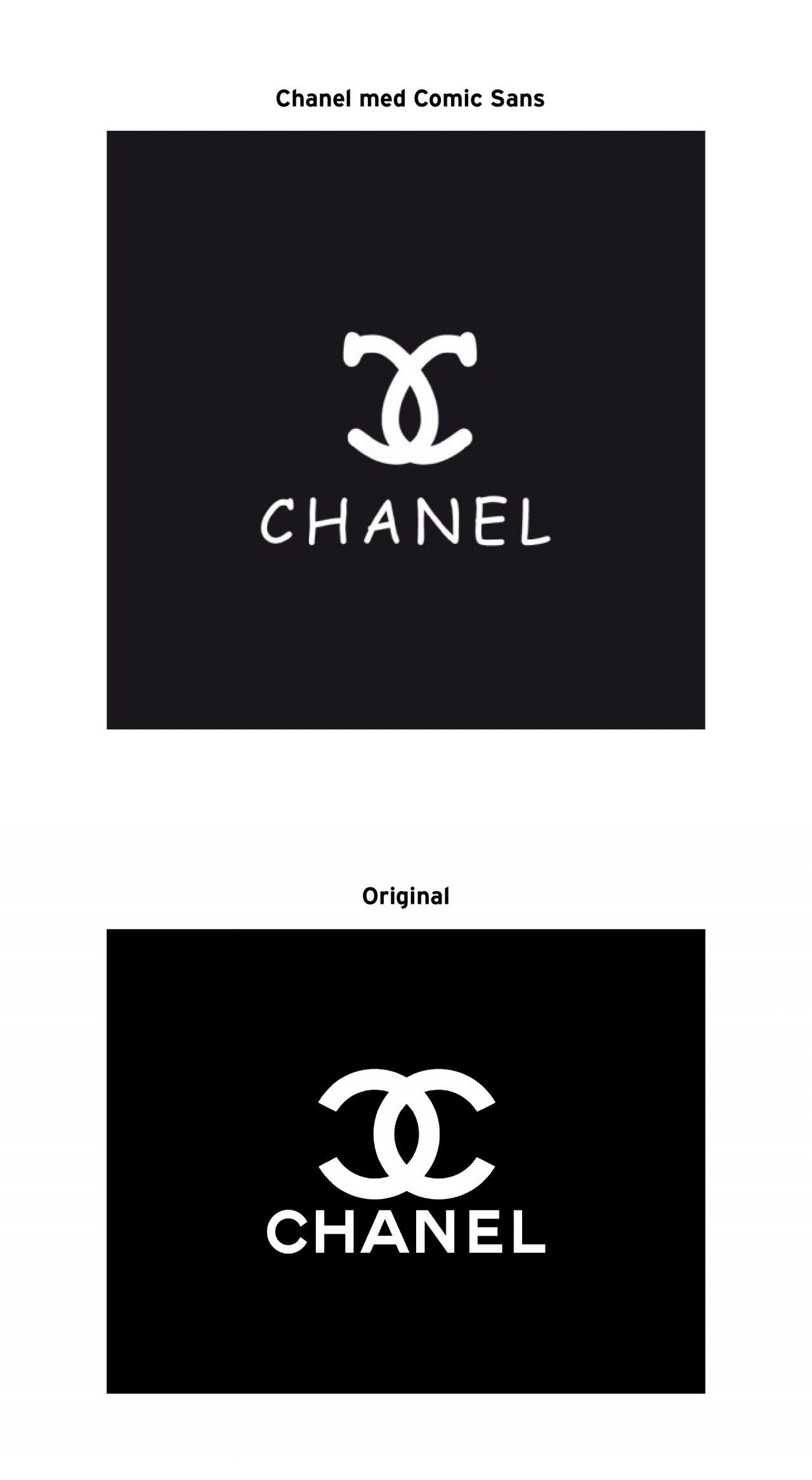 Chanel i Comic Sans jämförelse med original