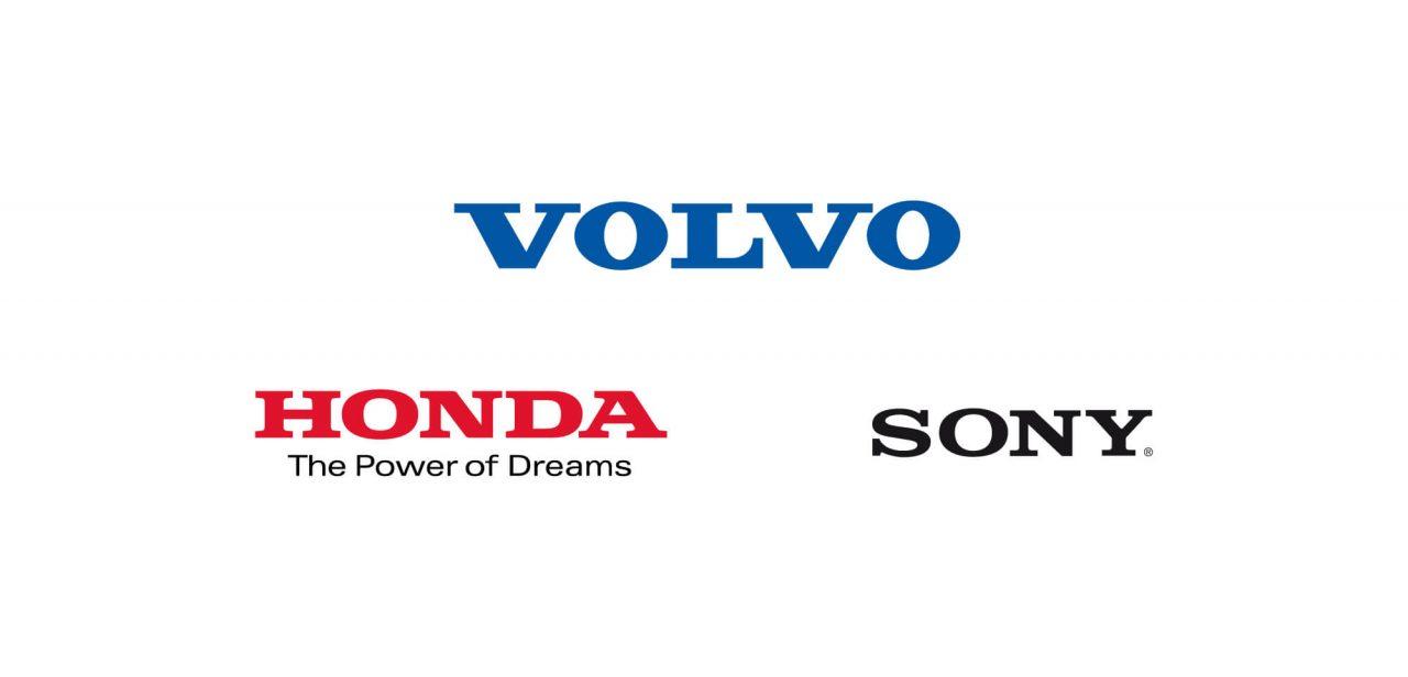 Honda, Volvo och Sonys loggor
