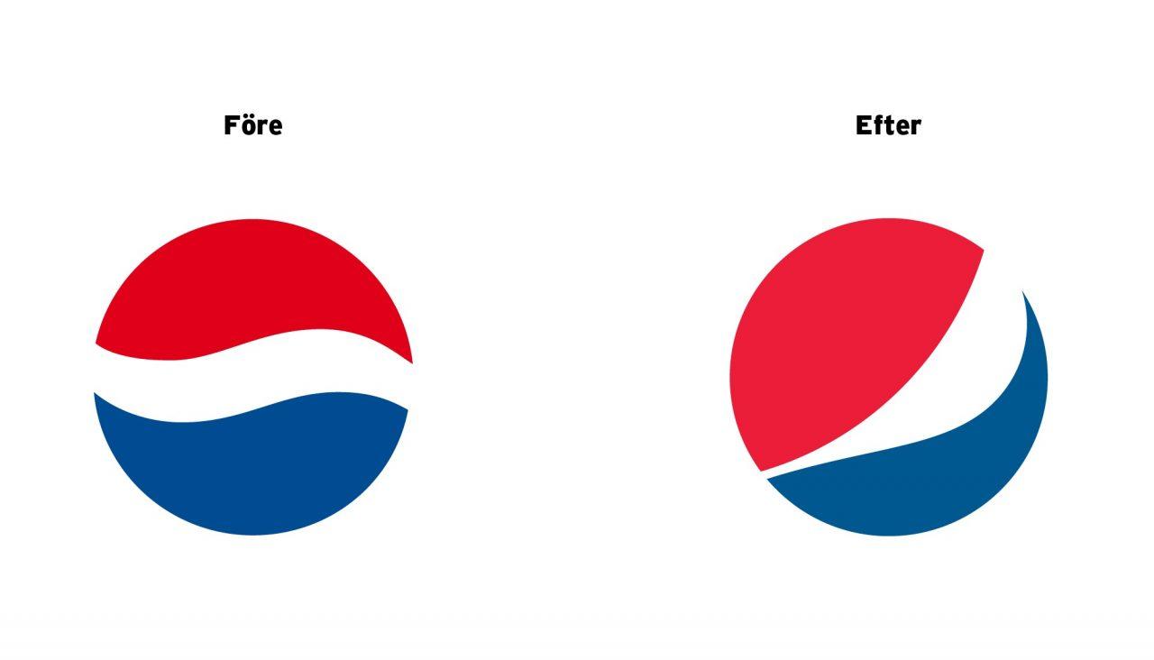 Pepsi logga före och efter
