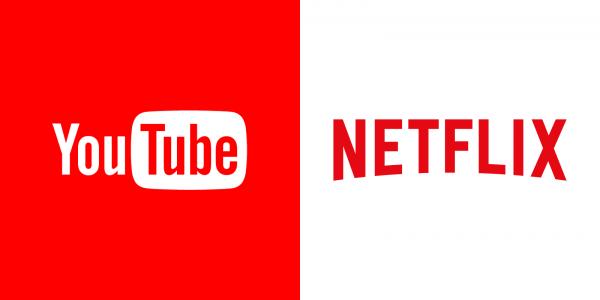 Bild på Netflix och Youtube's loggor som liknar varandra väldigt mycket.